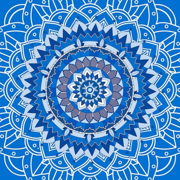 Design de mandala em fundo azul Vetor grátis