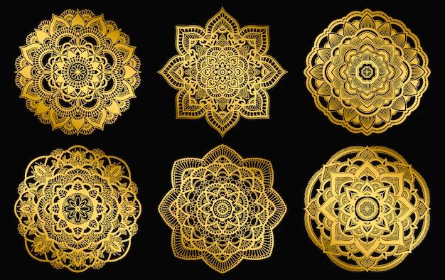 Design de mandalas douradas. ornamento de gradiente étnico redondo. motivo indiano de mão desenhada. mehendi meditação yoga hena tema. impressão floral original. Vetor Premium