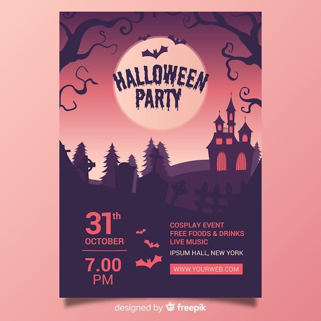 Design de mão desenhada de modelo de cartaz de festa de halloween Vetor grátis