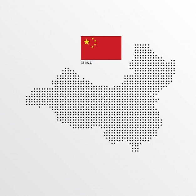 Design de mapa de china com bandeira e luz de fundo vector Vetor grátis