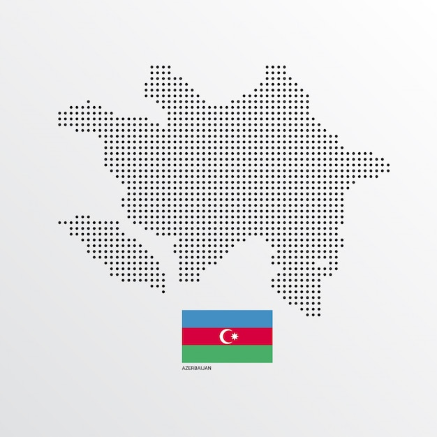 Design de mapa do azerbaijão com bandeira e vetor de luz de fundo Vetor grátis