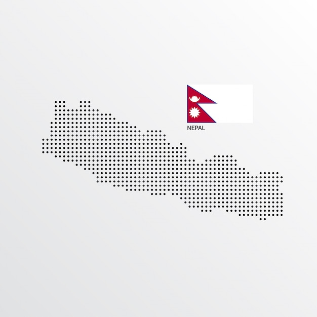 Design de mapa do nepal com bandeira e luz de fundo vector Vetor grátis