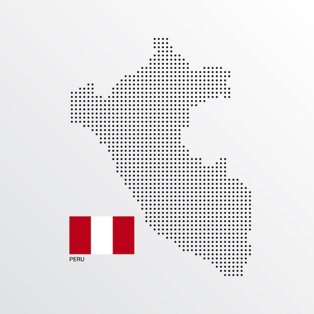 Design de mapa do peru com bandeira e vetor de luz de fundo Vetor grátis