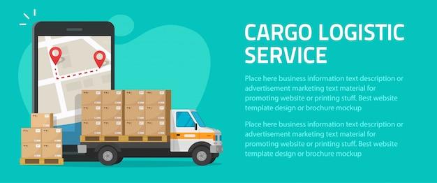 Design de maquete de modelo de cartaz de passageiro on-line de correio móvel de carga logística para frete de entrega de frete Vetor Premium