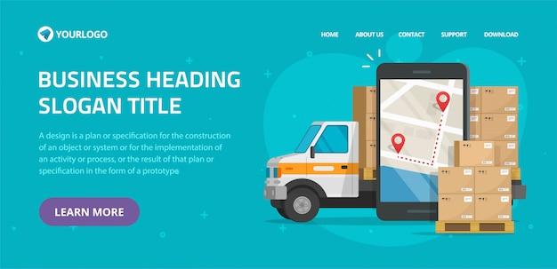 Design de maquete de modelo de site on-line de correio móvel de carga logística para entrega de frete e transporte de frete Vetor Premium