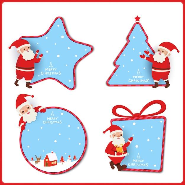 Design de marca de natal com papai noel decorado com moldura de ornamentos. Vetor Premium