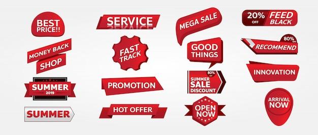 Design de marca de promoção de banner vermelho para marketing Vetor Premium