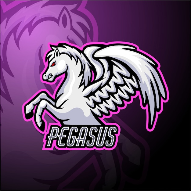 Design de mascote do logotipo pegasus esport Vetor Premium