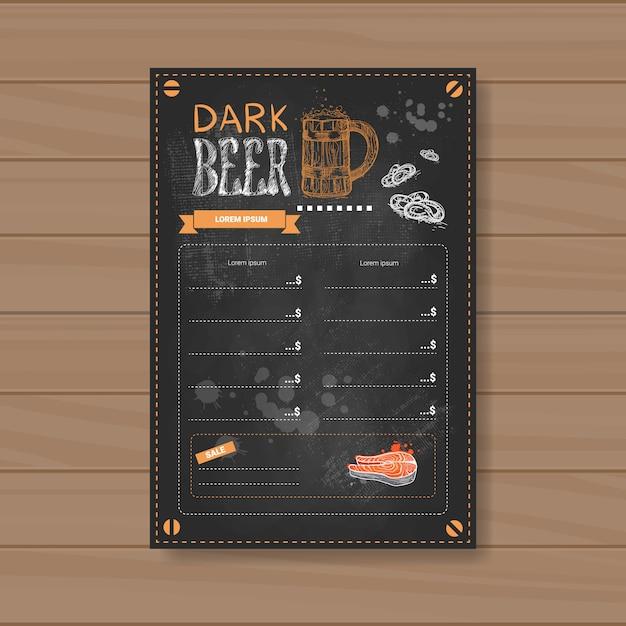 Design de menu de cerveja escura para o restaurante cafe pub riscado Vetor Premium
