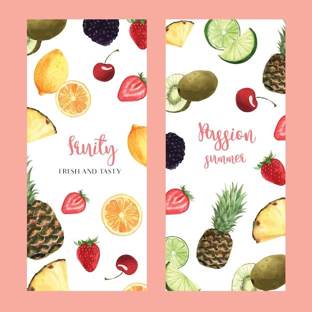 Design de menu de frutas tropicais, manga de melancia passionfruit verão, morango, laranja Vetor grátis