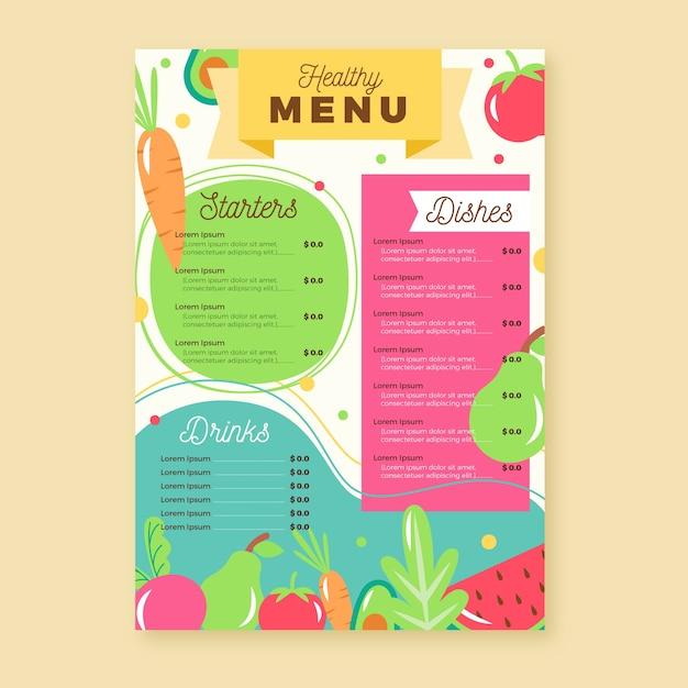 Design de menu de restaurante de comida saudável Vetor grátis