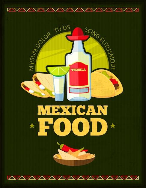Design de menu de restaurante mexicano vector Vetor Premium