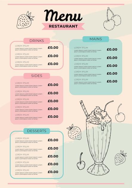 Design de menu digital de restaurante Vetor grátis