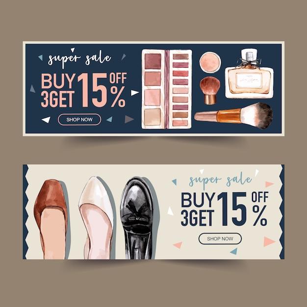 Design de moda banner com perfumes, sapatos Vetor grátis