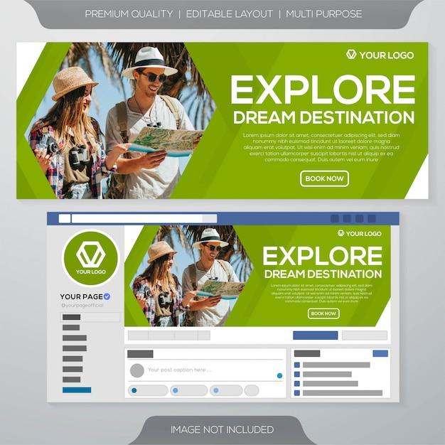 Design de modelo de anúncios de banner de viagens Vetor Premium