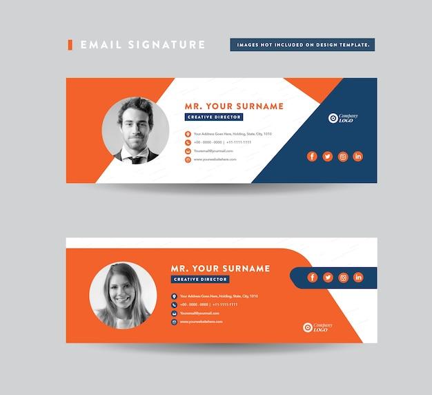 Design de modelo de assinatura de email. conjunto de capa de mídia social Vetor Premium