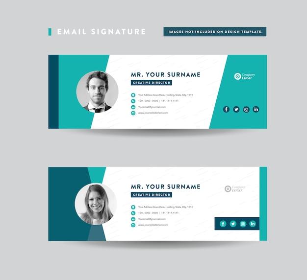 Design de modelo de assinatura de email, rodapé de email, capa de mídia social pessoal Vetor Premium