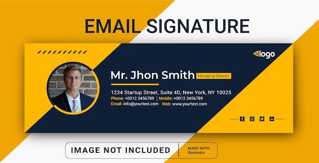 Design de modelo de assinatura de email rodapé de email pessoal capa de mídia social Vetor Premium