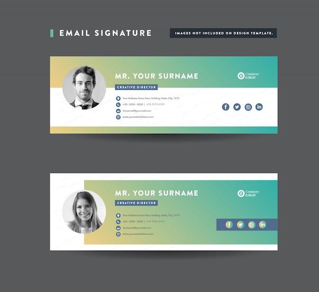 Design de modelo de assinatura de email | rodapé do email | capa pessoal de mídia social Vetor Premium