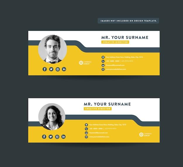 Design de modelo de assinatura de email Vetor Premium