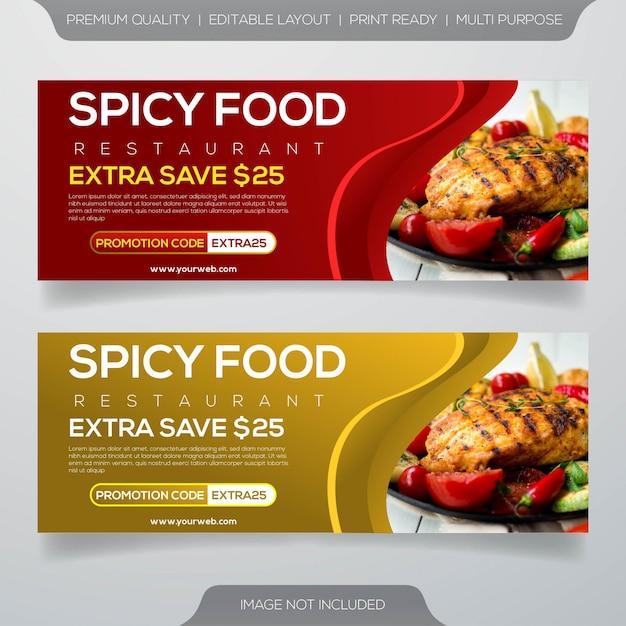 Design de modelo de banner de comida de restaurante de bife de carne Vetor Premium