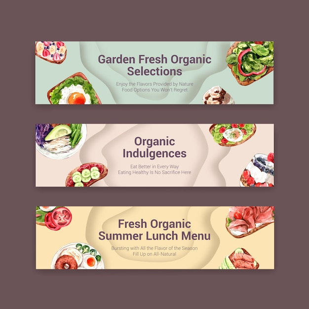 Design de modelo de banner de comida saudável para voucher, aquarela de propaganda Vetor grátis