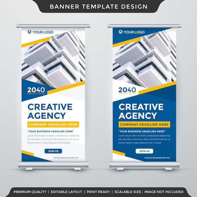 Design de modelo de banner de estande de negócios com fundo geométrico abstrato e uso de estilo moderno para apresentação de negócios e exibição de produtos Vetor Premium