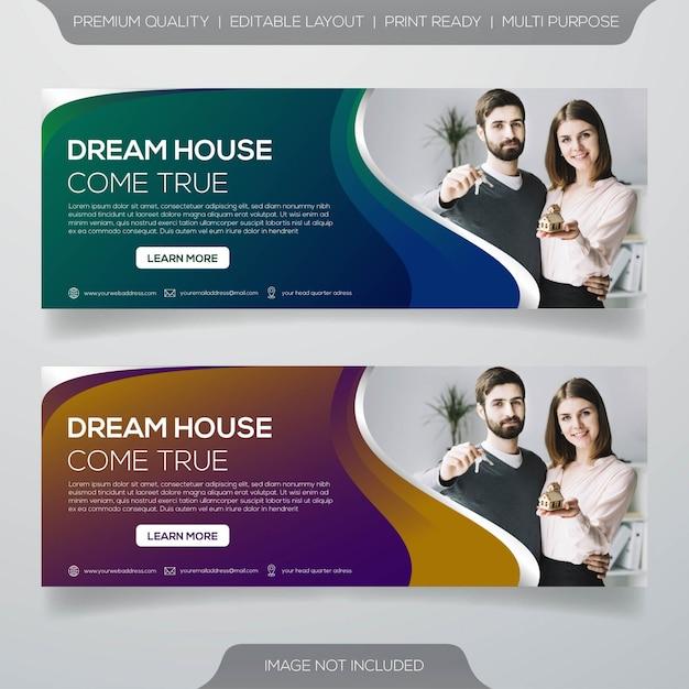 Design de modelo de banner de promoção imobiliária Vetor Premium