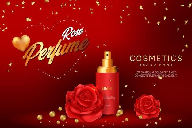Design de modelo de banner de publicidade cosmética rose perfume Vetor Premium