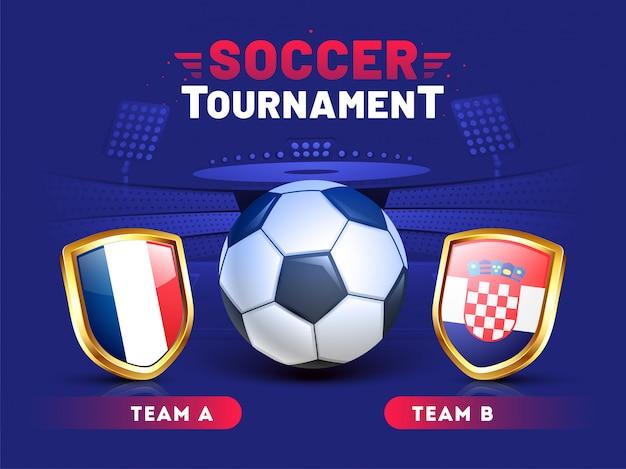 Design de modelo de banner de torneio de futebol com ilustração de bola de futebol e equipes Vetor Premium