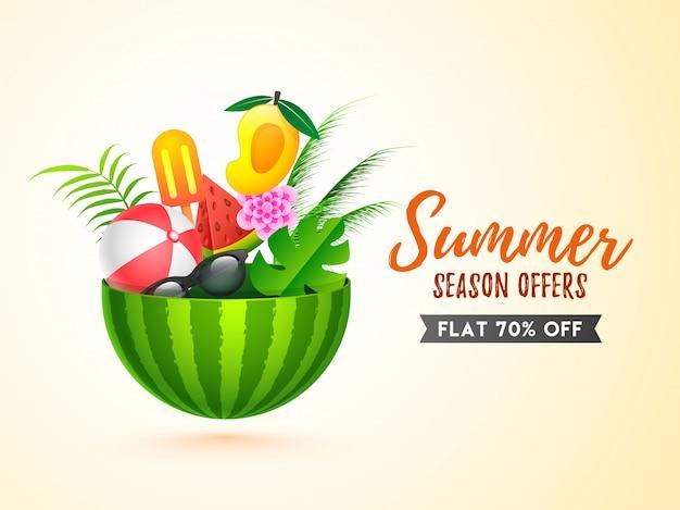 Design de modelo de banner de venda com elementos de verão Vetor Premium