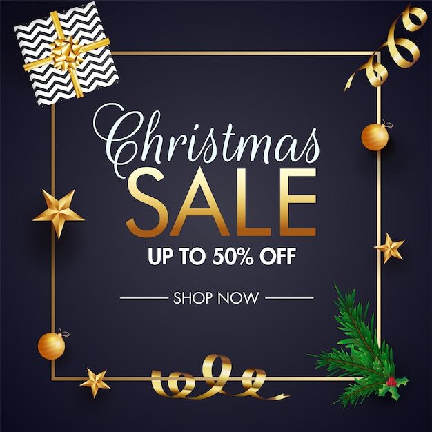 Design de modelo de banner de venda de natal. Vetor Premium