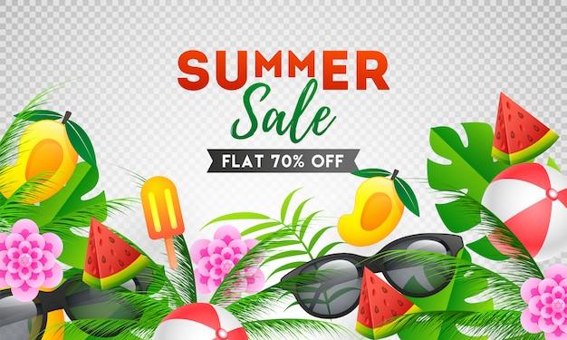 Design de modelo de banner de venda de verão com oferta de desconto Vetor Premium