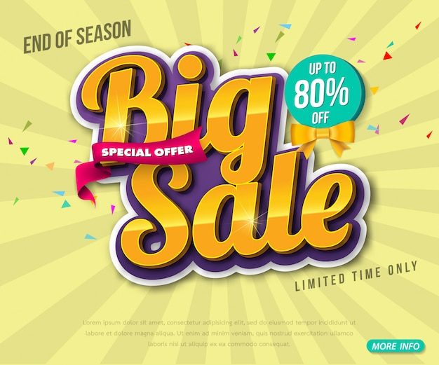 Design de modelo de banner de venda, grande venda especial até 80% de desconto. super venda, banner de oferta especial de fim de temporada. Vetor Premium