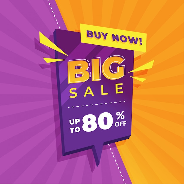 Design de modelo de banner de venda, oferta especial de grande venda Vetor Premium