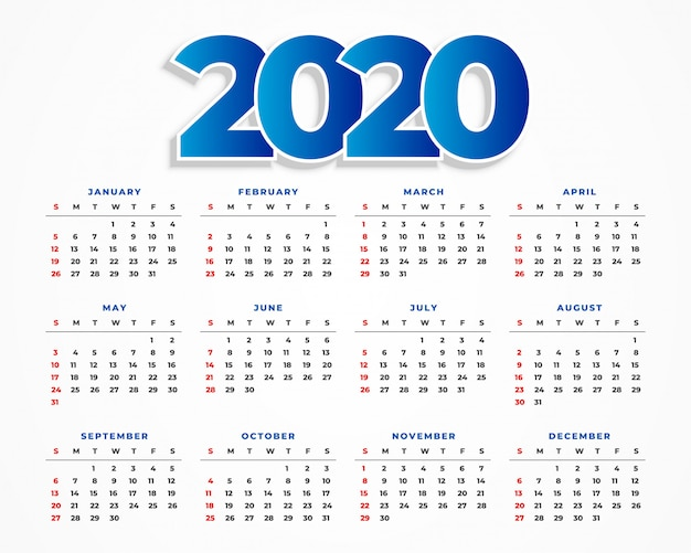 Design de modelo de calendário limpo 2020 Vetor grátis