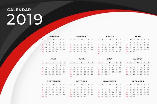 Design de modelo de calendário ondulado vermelho moderno de 2019 Vetor grátis
