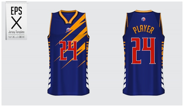 Design de modelo de camisa de basquete Vetor Premium