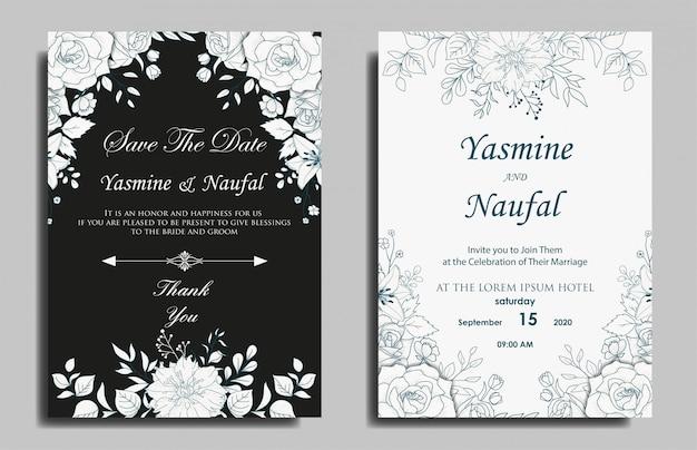 Design de modelo de cartão de convite de casamento floral desenhado à mão Vetor Premium