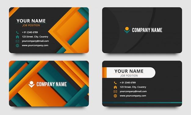 Design de modelo de cartão de visita elegante roxo colorido Vetor Premium