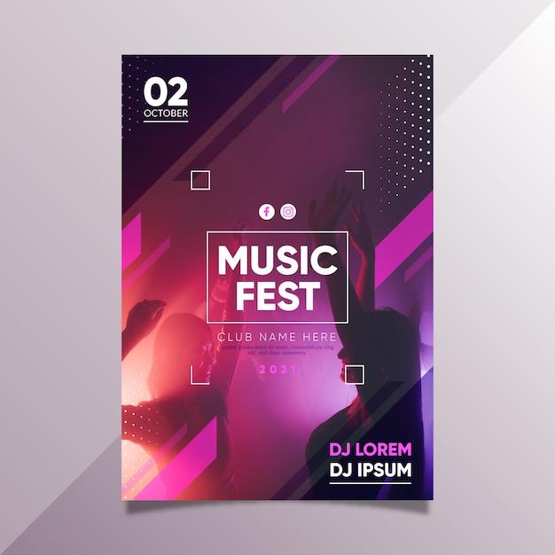 Design de modelo de cartaz de evento de música 2021 Vetor grátis