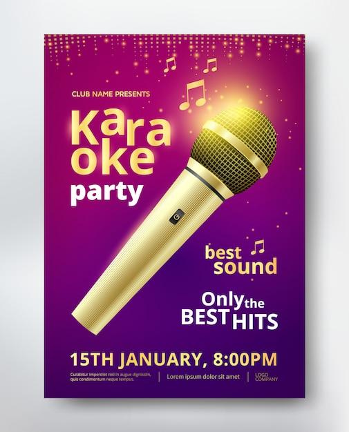 Design de modelo de cartaz de festa de karaoke com microfone dourado Vetor Premium