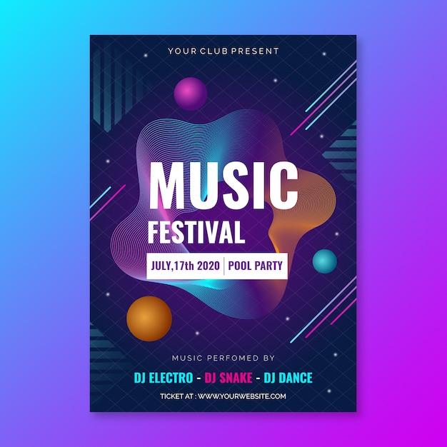 Design de modelo de cartaz de música Vetor grátis