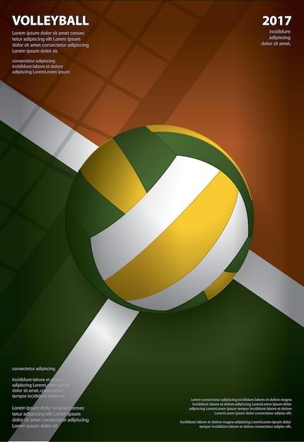 Design de modelo de cartaz de torneio de voleibol Vetor Premium
