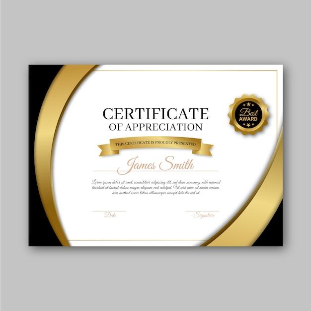 Design de modelo de certificado de prêmio Vetor grátis