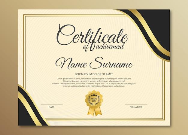 Design de modelo de certificado preto dourado premium. Vetor Premium