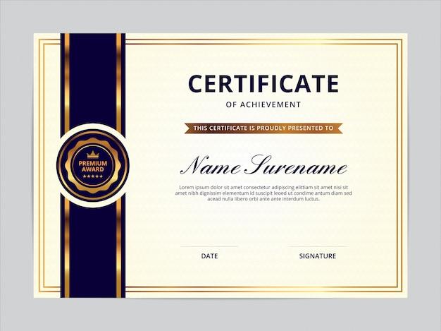 Design de modelo de certificado Vetor Premium