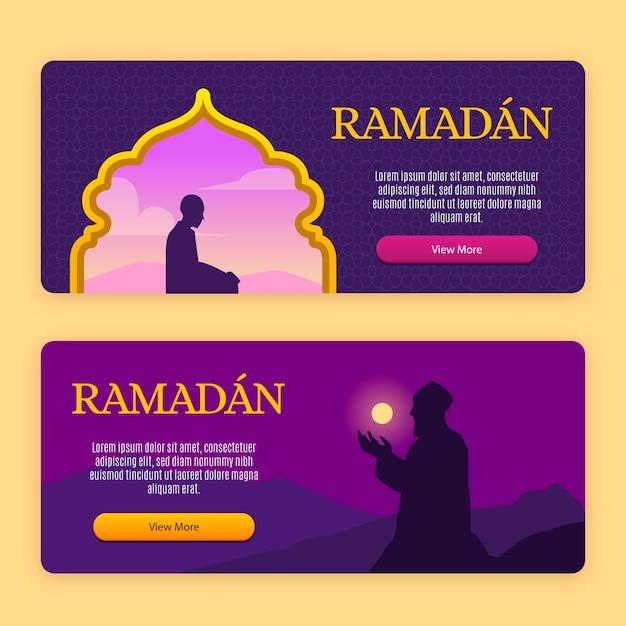 Design de modelo de coleção de banner do ramadã Vetor grátis