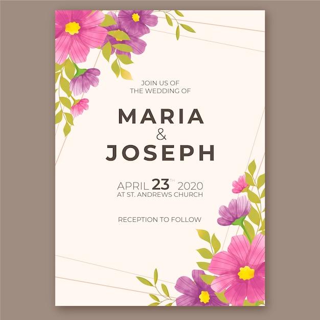 Design de modelo de convite de casamento em aquarela Vetor grátis