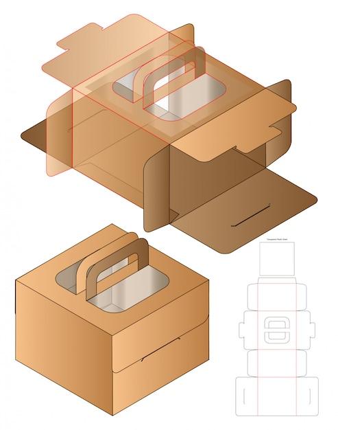 Design de modelo de corte de caixa de embalagem. Vetor Premium